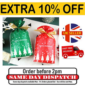 Christmas Pouch Bags Reusable Drawstring Wrap Presents Gift Stocking Fillers
