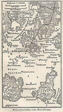 B0831 Sweden - Karlskrona - Carta geografica d'epoca - 1890 Vintage map
