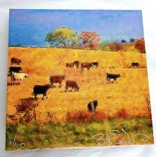 """Bill Luchsinger Karen Strohbeen """"Small Herd"""" Ceramic Tile Digital Art 12"""" Square"""