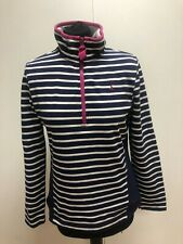 L748 WOMENS JOULES BLUE WHITE STRIPED L/SLEEVE 1/4 ZIP TOP UK SIZE UK 10 US 6