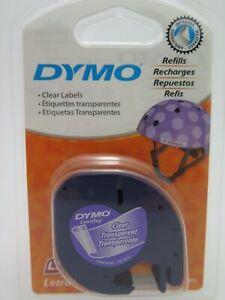 Dymo Letratag Tape Black on Clear Plastic 12mmx4M 16952 /12267  GENUINE