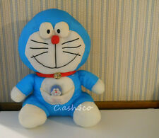 Large Doraemon Vintage 1970 nylon Puffalump style plush cat & small Doraemon