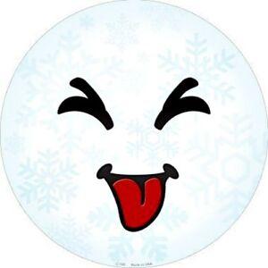 "Raspberry Face Snowflake 12"" Round Metal Sign Winter Snow Holiday Emoji Decor"