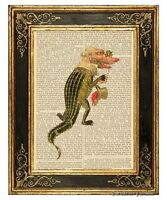 Alligator Man Art Print on Vintage Book Page Mardi Gras Costume Fashion