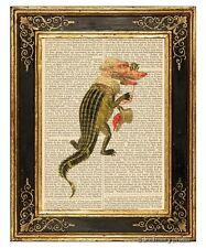 Alligator Man Art Print on Vintage Book Page Mardi Gras Costume Fashion