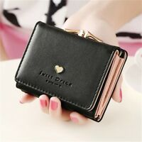 Women Lady Leather Clutch Short Black Wallet PU Card Holder Purse Handbag Bag
