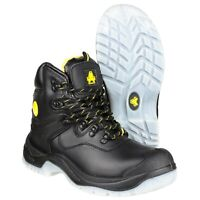 Amblers FS198 Black Waterproof Lace-up Scuff Cap Safety Boot |4-14|