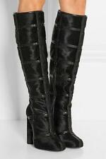 AuthNIB $3K Tom Ford Patchwork Calf Hair and Leather Knee High Boots Runway 36.5