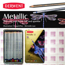 Derwent Metallic 12 water-soluble shimmering and reflective colored pencil-ALLEY