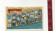 vintage Linen Large Letter Greetings from VIRGINIA FREE SHIPPING