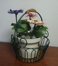 Vtg Wrought Iron green scroll wicker Metal Fruit Bowl flower Basket Centerpiece