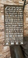 Lords Prayer Rustic Farmhouse Fixer Upper Style White Wood Sign