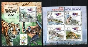 TOGO 2012 EXPO JAKARTA TIGER MONKEY BIRD WILD ANIMALS FAUNA PANTHERA STAMPS MNH
