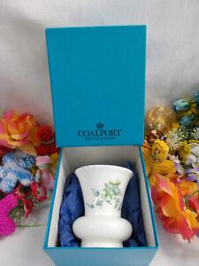 LOVELY COALPORT FLORAL VASE - FINE BONE CHINA 10 1/2 cm H EXC IN ORIG BOX # 112