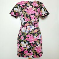 FRENCH CONNECTION (UK Size 14) Short Sleeve Dress - Bright Bold Floral Artsy