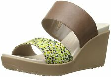 crocs Womens Leigh II 2 Strap Graphic Wedge Sandal, Bronze/Gold, 7 M US
