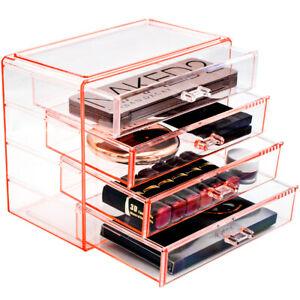 Sorbus 4 Drawer Acrylic Makeup Organizer - Jewelry Cosmetic Storage Case Display