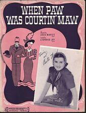 When Paw Was Courtin Maw 1938 Baby Rose Dick Van Dyke TV Sheet Music