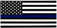 "USA Police Memorial Thin Blue Line Decal Vinyl Bumper Sticker (3.75""x7.5"")"
