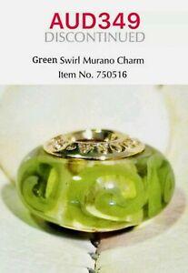 PANDORA 14K Gold Green Swirl Murano Glass Charm, 750516
