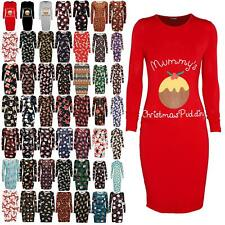 Womens Ladies Mummy's Christmas Pudding Maternity Round Neck Bodycon Midi Dress