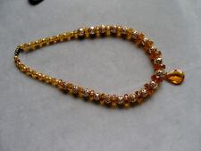 SUPER SCHÖNE 70er Jahre Kette-Choker amberfarbige Glas Perlen filigran Metall