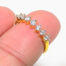 Gold Tone Mothers Day Jewelry Gifts New Russian White Topaz Half Band Fine Rings