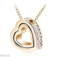 18k Chapado En Oro Con Swarovski Elements Cristal Azul Doble Corazón Collar Colgante