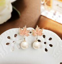 Handmade Enamel Floral Summer Flower Classy Drop Pearl 926 silver Beige Pink Ear