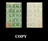 SPAIN 1852, Pane ,one 2R orange and 19 x 5 Reales Green Blue Grill,60000$,COPY