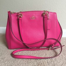 New Coach F 36637 Crossgrain Leather Chrisite Carryall Satchel Pink Ruby