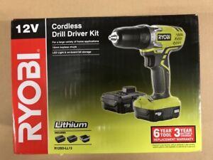 Ryobi 12V Cordless Drill Kit 2x Battery Charger Keyless Chuck LED R12SD-LL13