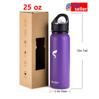 Sports Water Bottles 25oz Stainless Steel With Straw Lid And Portable Handle -