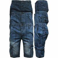 Mens Casual Denim Regular Fit Combats Cargo Shorts 3/4 Knee Length Pants 30-42