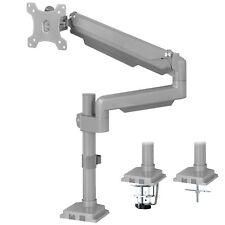 "USED VIVO Silver Single Monitor Stand Desk Mount w/Pneumatic Arm Upto 32"" Screen"