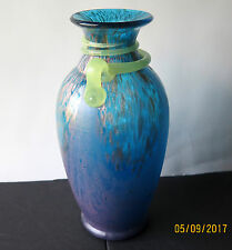Venetian Blown Glass Style Art Vase Blue Turquoise with Mabled Gold &Green Snake