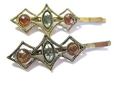 PAIR OF VINTAGE BOBBY PIN STYLE HAIR CLIPS WITH ACRYLIC ORANGE BLUE GEMS BEADED