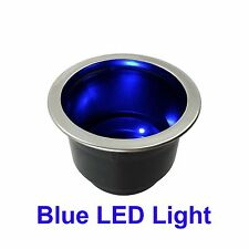 Blue LED Light Up Cup Holder w Drain for Boat RV Camper Marine New FREESHIPPING