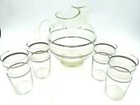 Vintage Mid Century Modern Glass Water Pitcher and Glasses - Gold and Silver