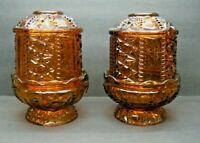 Vintage Indiana Glass 1188BD Stars and Bars Amber Pair Fairy Lamps for Homco