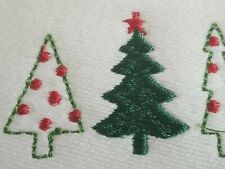 Casaba Set of 2 White Tip Towels Christmas Trees Embroidered,Gift, New