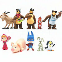 10pcs Masha And The Bear Cartoon Action Figure Cake Topper Doll TV Kids Toy Gift