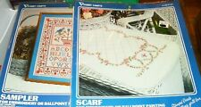 Vogart Floral Scallop Scarf Embroidery Ballpoint Painting Sampler 2 Kit Lot New