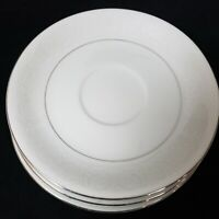 "3 Southwicke White Lace Porcelain China Dinnerware 6"" Cup Saucers Platinum Edge"