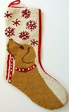 "Yellow Labrador Retriever Snowflake Leash Hooked  Christmas Stocking - 13"" x 21"""