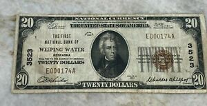 Weeping Water NE $20 1929 T-1 National Bank Note Ch #3523 First NB VG/F