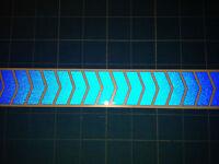 21 MINI REFLECTIVE CHEVRON STICKERS / DECALS 35mm HIGH - BLUE BE SEEN HI VIZ