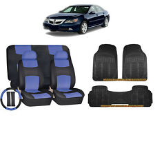 14PC BLUE PU LEATHER SEAT COVERS BENCH & BLACK RUBBER MATS FOR CARS 9204