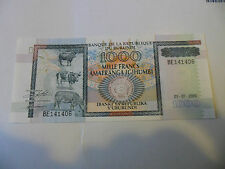 01-07-2000 BURUNDI 1000 FRANC BANKNOTE , A NICE UNC. NOTE : CRISP & CLEAN !!!!!!
