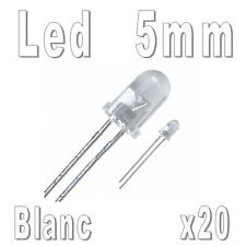 20x LEDs 5mm Blanches 16000mcd